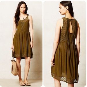Anthropologie Lilka Olive Green Dress